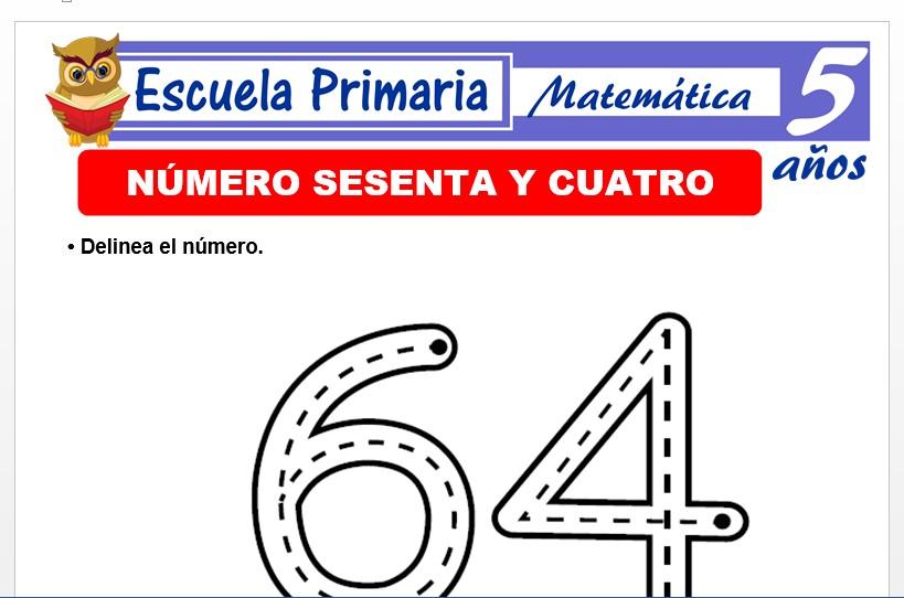 Modelo de la Ficha de El nùmero 64 para Niños de 5 Años