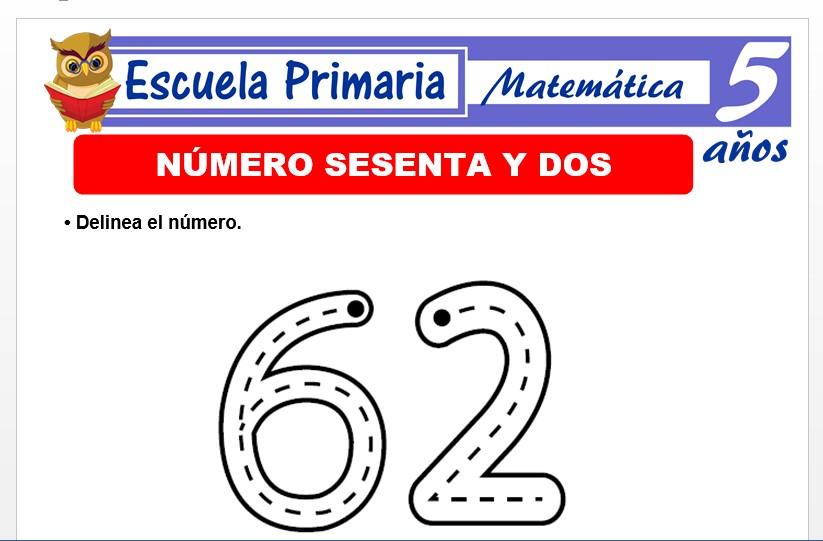 Modelo de la Ficha de El nùmero 62 para Niños de 5 Años