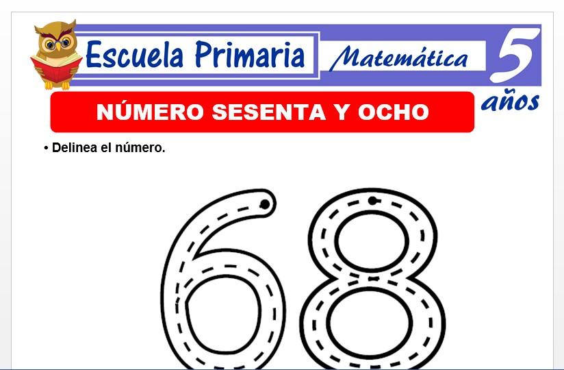 Modelo de la Ficha de El nùmero 68 para Niños de 5 Años