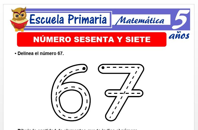 Modelo de la Ficha de El nùmero 67 para Niños de 5 Años
