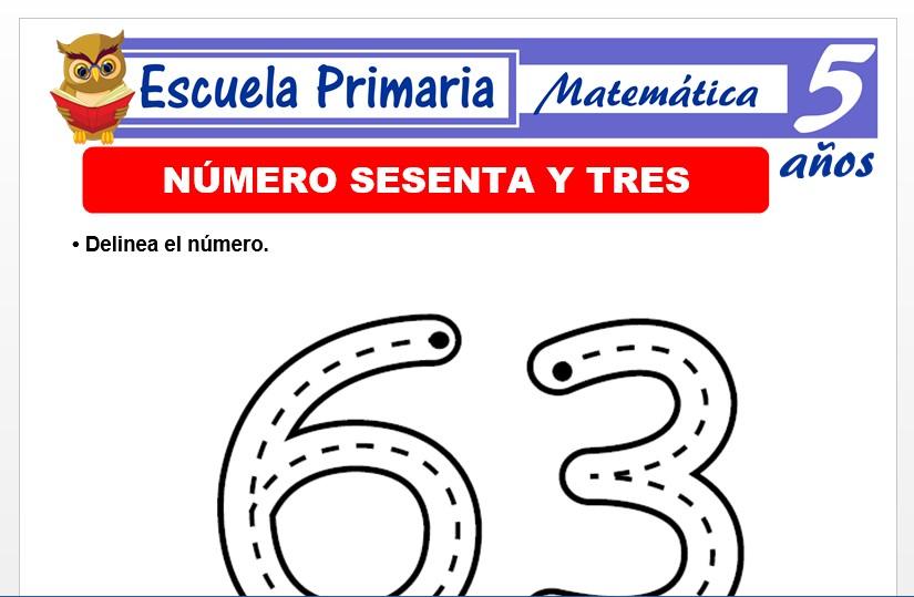 Modelo de la Ficha de El nùmero 63 para Niños de 5 Años