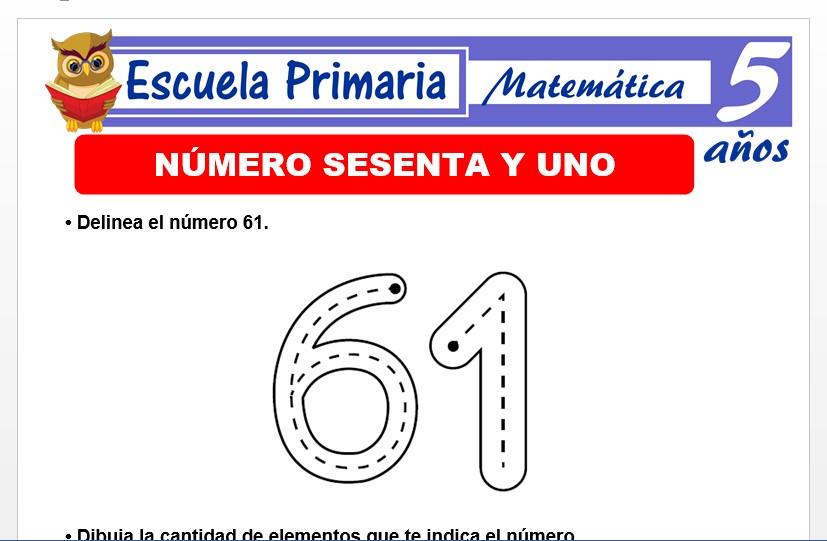 Modelo de la Ficha de El nùmero 61 para Niños de 5 Años
