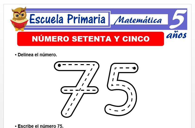Modelo de la Ficha de El nùmero 75 para Niños de 5 Años