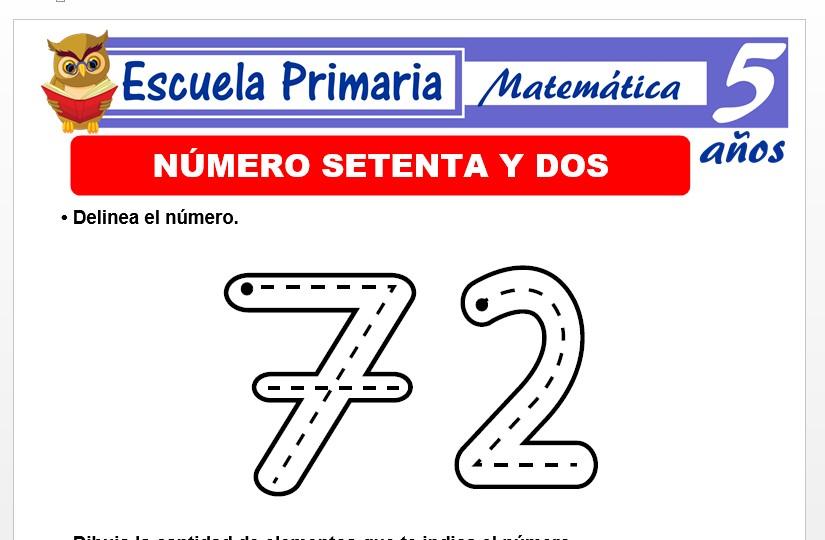 Modelo de la Ficha de El nùmero 72 para Niños de 5 Años
