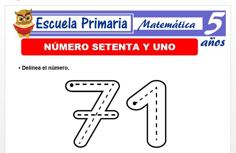 Modelo de la Ficha de El nùmero 71 para Niños de 5 Años