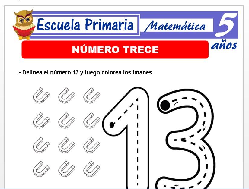 Modelo de la Ficha de El número 13 para Niños de 5 Años