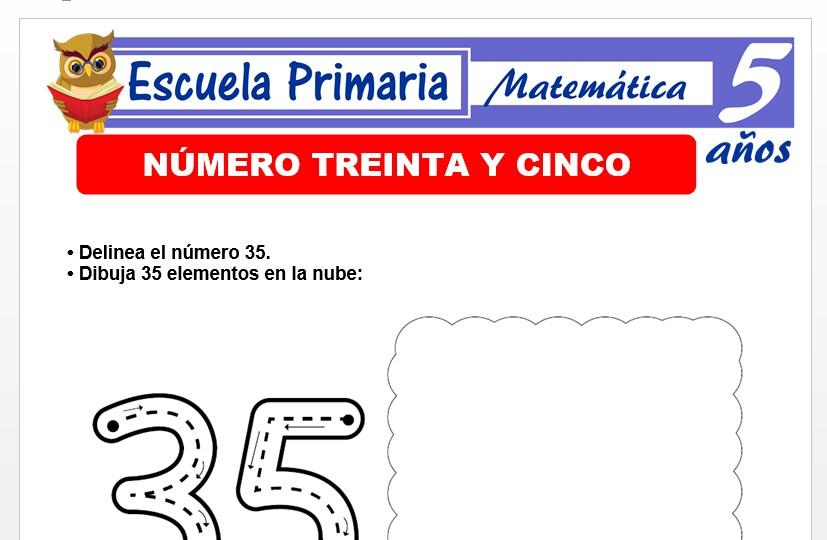 Modelo de la Ficha de El nùmero 35 para Niños de 5 Años