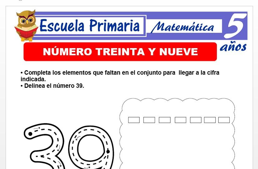 Modelo de la Ficha de El nùmero 39 para Niños de 5 Años