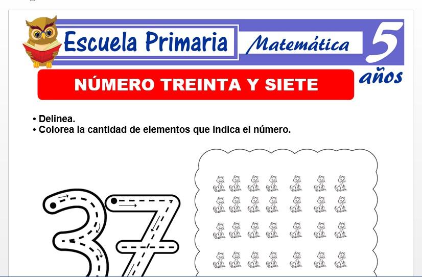 Modelo de la Ficha de El nùmero 37 para Niños de 5 Años