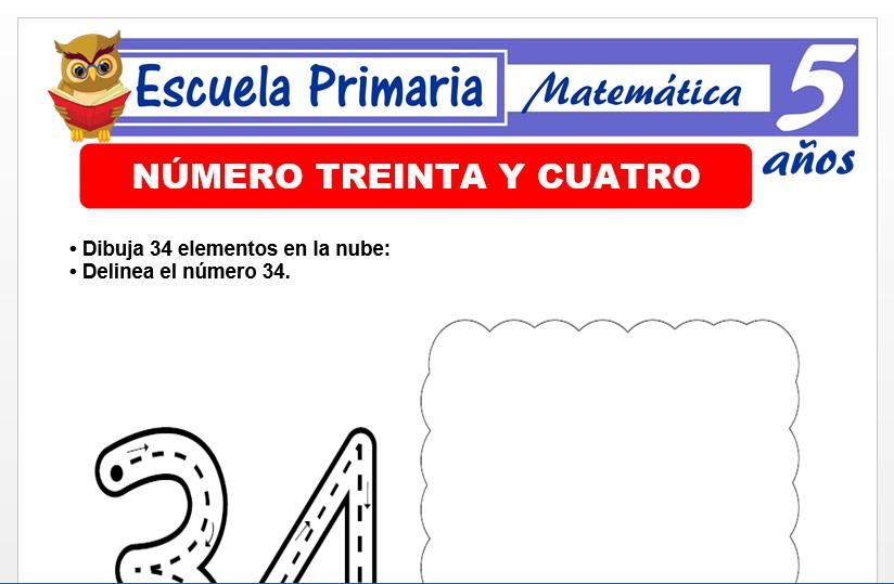 Modelo de la Ficha de El nùmero 34 para Niños de 5 Años