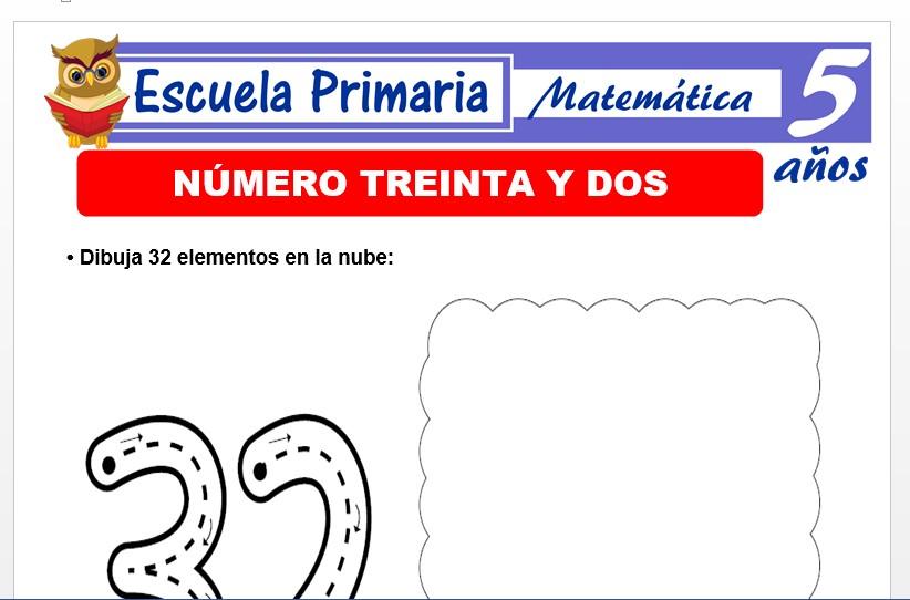 Modelo de la Ficha de El nùmero 32 para Niños de 5 Años