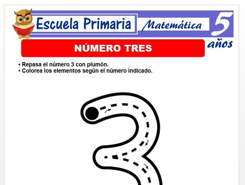 Modelo de la Ficha de Numero 3 para Niños de 5 Años