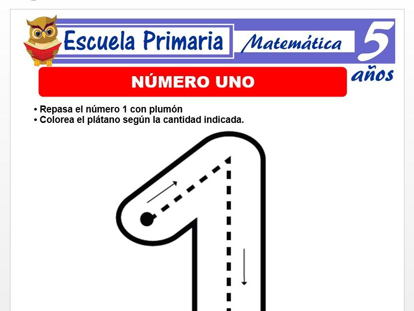 Modelo de la Ficha de Numero 1 para Niños de 5 Años