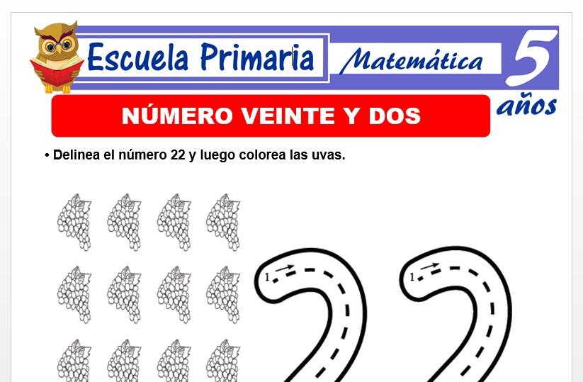 Modelo de la Ficha de El nùmero 22 para Niños de 5 Años