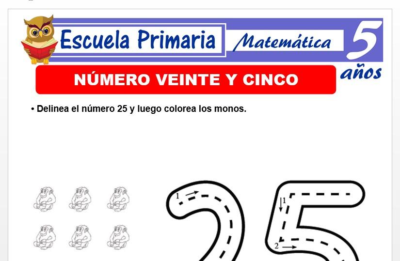 Modelo de la Ficha de El nùmero 25 para Niños de 5 Años