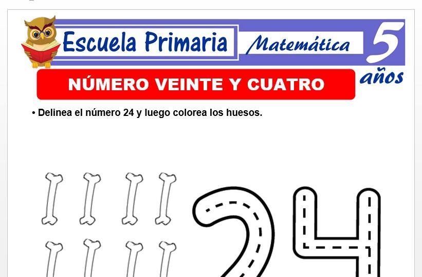 Modelo de la Ficha de El nùmero 24 para Niños de 5 Años