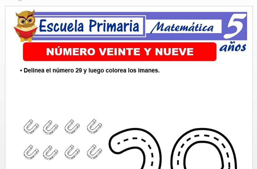 Modelo de la Ficha de El nùmero 29 para Niños de 5 Años
