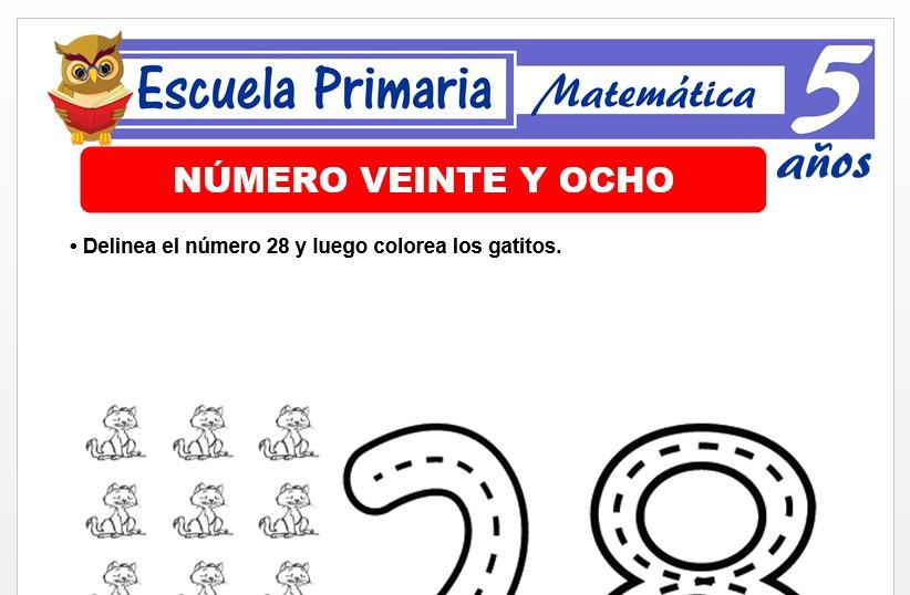 Modelo de la Ficha de El nùmero 28 para Niños de 5 Años