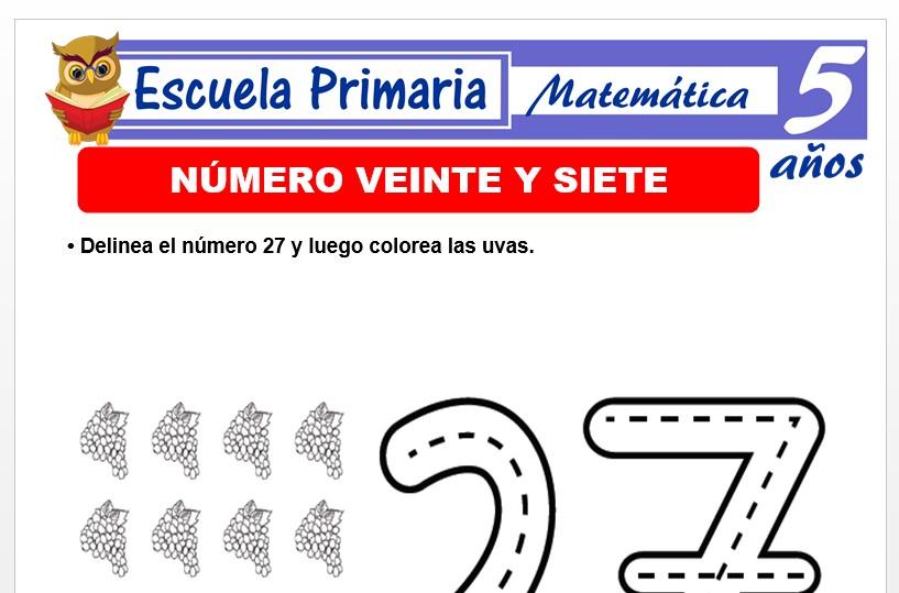 Modelo de la Ficha de El nùmero 27 para Niños de 5 Años
