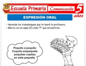 Modelo de la Ficha de Expresión y comprensión oral para Niños de 5 Años