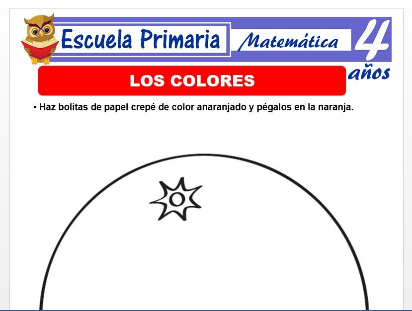 Modelo de la Ficha de Los colores para Niños de 4 Años