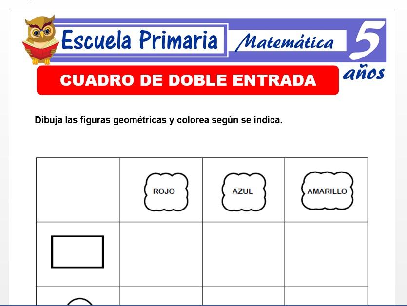 Modelo de la Ficha de Fichas de doble entrada para Niños de 5 Años