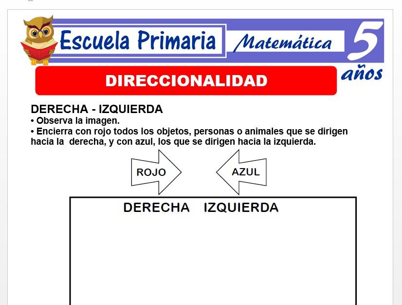 Modelo de la Ficha de Fichas de direccionalidad para Niños de 5 Años