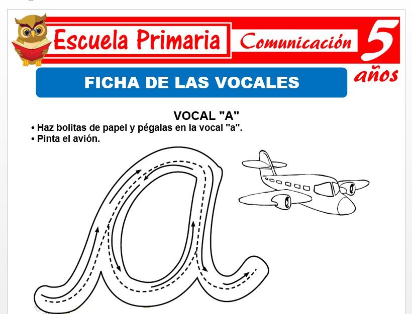 Modelo de la Ficha de Fichas de las vocales para Niños de 5 Años