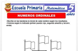 Modelo de la Ficha de Fichas de nùmeros ordinales para Niños de 5 Años