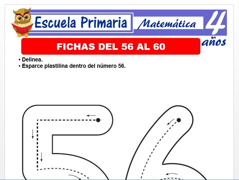 Modelo de la Ficha de Fichas del 56 al 60 para Niños de 4 Años
