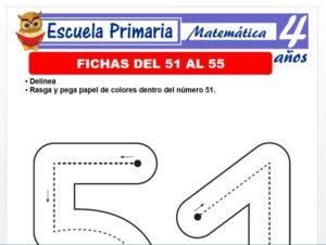 Modelo de la Ficha de Fichas del 51 al 55 para Niños de 4 Años