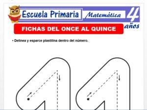Modelo de la Ficha de Fichas del once al quince para Niños de 4 Años