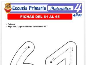 Modelo de la Ficha de Fichas del 61 al 65 para Niños de 4 Años