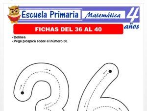 Modelo de la Ficha de Fichas del 36 al 40 para Niños de 4 Años