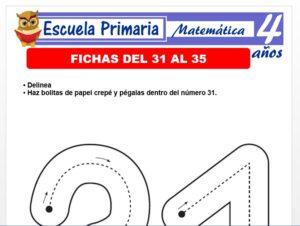 Modelo de la Ficha de Fichas del 31 al 35 para Niños de 4 Años