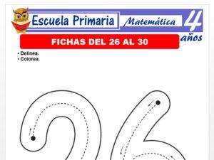 Modelo de la Ficha de Fichas del 26 al 30 para Niños de 4 Años