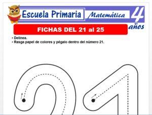 Modelo de la Ficha de Fichas del 21 al 25 para Niños de 4 Años