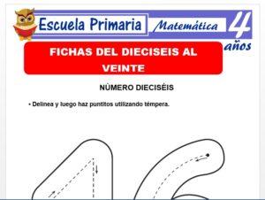 Modelo de la Ficha de Fichas del dieciséis al veinte para Niños de 4 Años