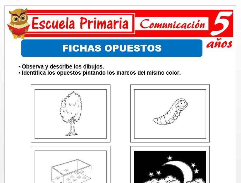 Modelo de la Ficha de Fichas de opuestos para Niños de 5 Años