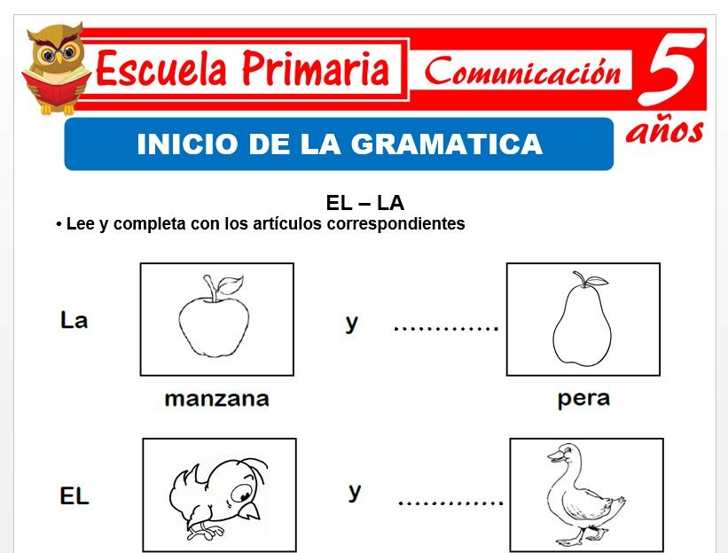 Modelo de la Ficha de Inicio de la gramática para Niños de 5 Años