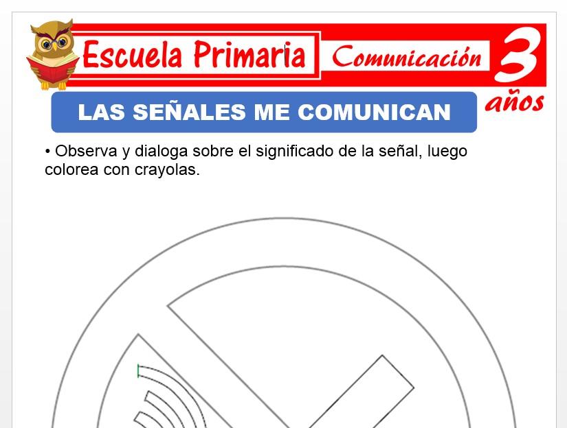 Modelo de la Ficha de Las señales me comunican para Niños de 3 Años
