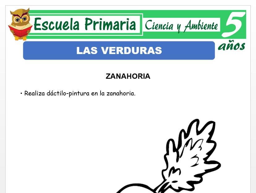 Modelo de la Ficha de Las verduras para Niños de 5 Años