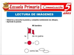 Modelo de la Ficha de Lectura de i imágenes para Niños de 5 Años