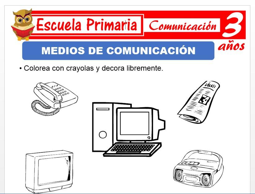 Modelo de la Ficha de Medios de comunicaciòn para Niños de 3 Años