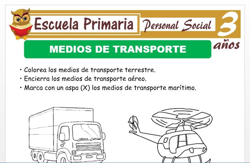 Modelo de la Ficha de Medios de transporte para Niños de 3 Años