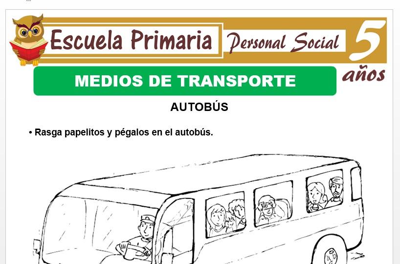 Modelo de la Ficha de Medios de transporte y comunicaciòn para Niños de 5 Años
