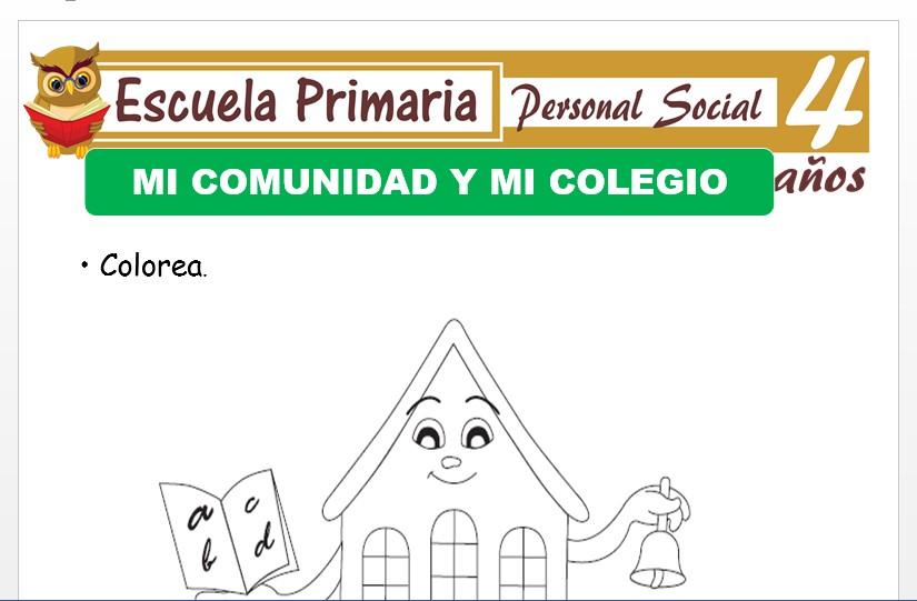 Modelo de la Ficha de Mi colegio y mi comunidad para Niños de 4 Años