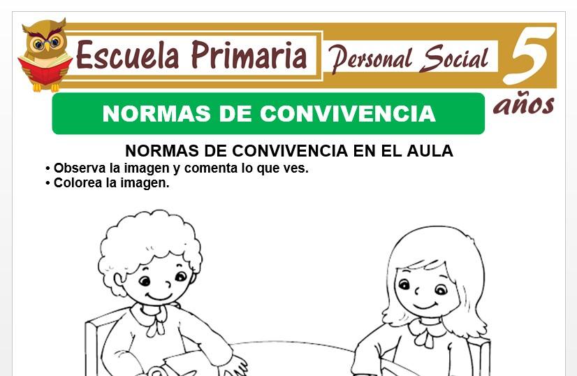 Modelo de la Ficha de Normas de convivencia para Niños de 5 Años