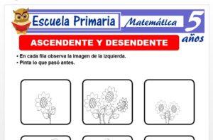 Modelo de la Ficha de Numeraciòn ascendente y descendente para Niños de 5 Años