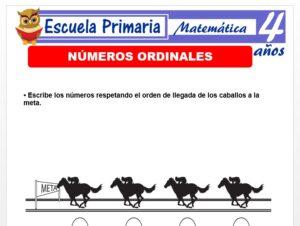 Modelo de la Ficha de Números ordinales para Niños de 4 Años